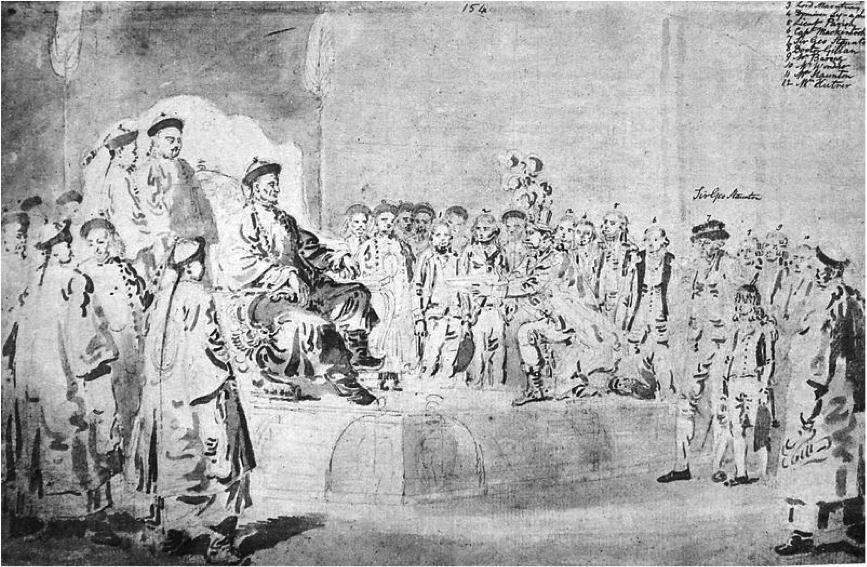 Earl McCartney, part of the British trade delegation, bowing to the Emperor of China in 1794