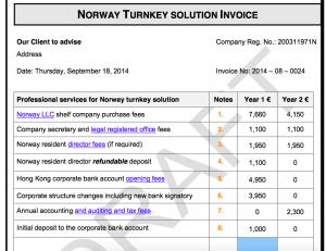 Norway draft invoice