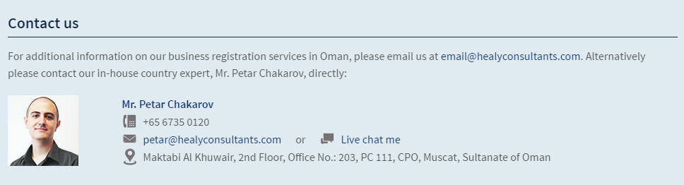 Oman business services contact