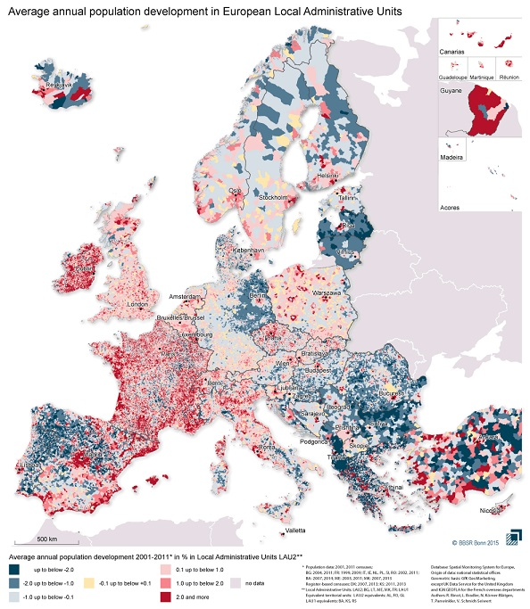 Population development in Europe