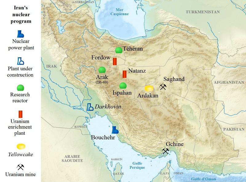 Map of Iran nuclear program