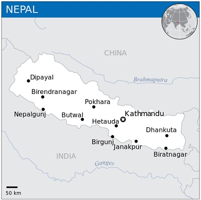 Location on Nepal