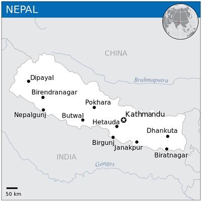 Location on Nepal