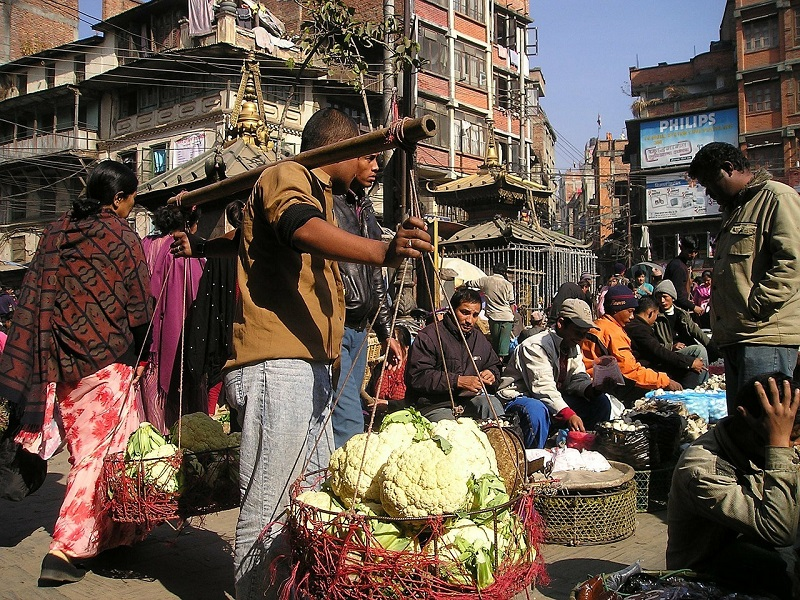 Market street in Nepal