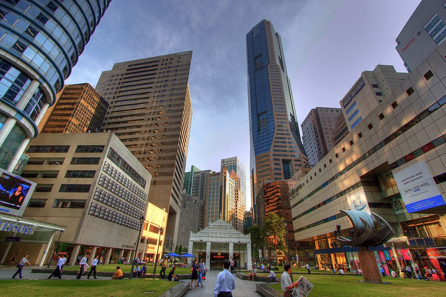 Raffles place in Singapore