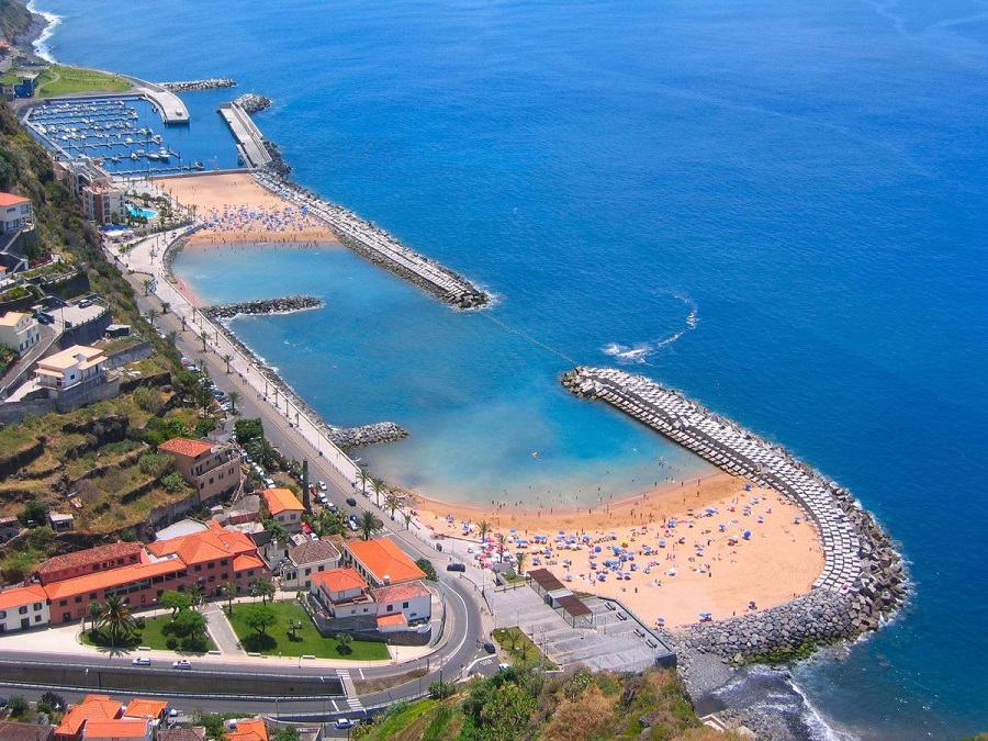 manufactured coastal beach of Calheta