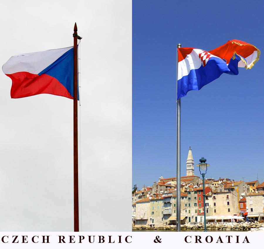 czech and croatia flags