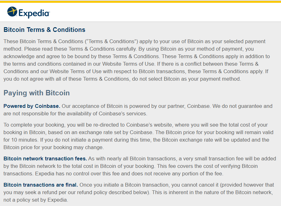 Expedia's policy on Bitcoin